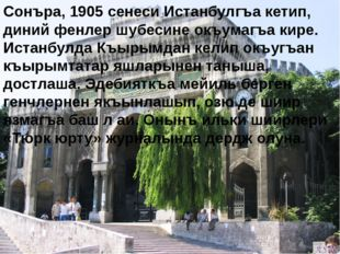 Сонъра, 1905 сенеси Истанбулгъа кетип, диний фенлер шубесине окъумагъа кире.