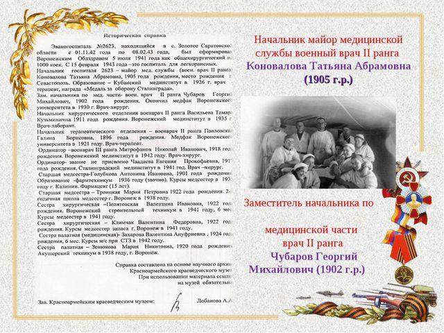 Начальник майор медицинской службы военный врач II ранга Коновалова Татьяна А...