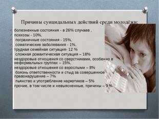 Причины суицидальных действий среди молодёжи: болезненные состояния - в 26% с
