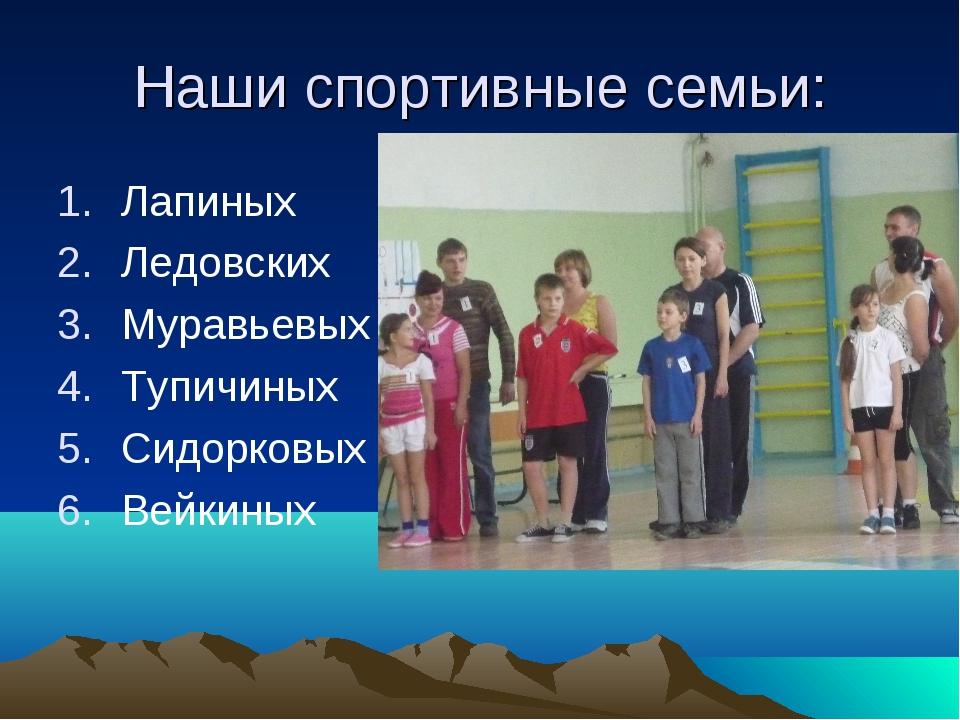 Наши спортивные семьи: Лапиных Ледовских Муравьевых Тупичиных Сидорковых Вейк...