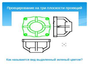 Проецирование на три плоскости проекций Как называется вид выделенный зеленый