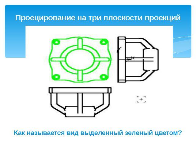 Проецирование на три плоскости проекций Как называется вид выделенный зеленый...