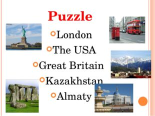 Puzzle London The USA Great Britain Kazakhstan Almaty