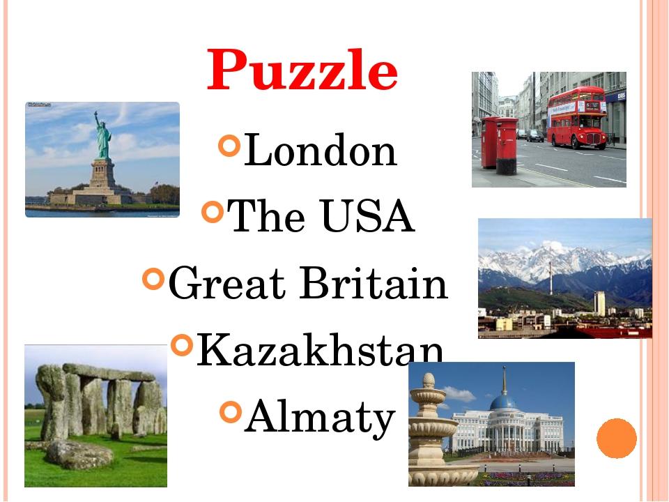Puzzle London The USA Great Britain Kazakhstan Almaty