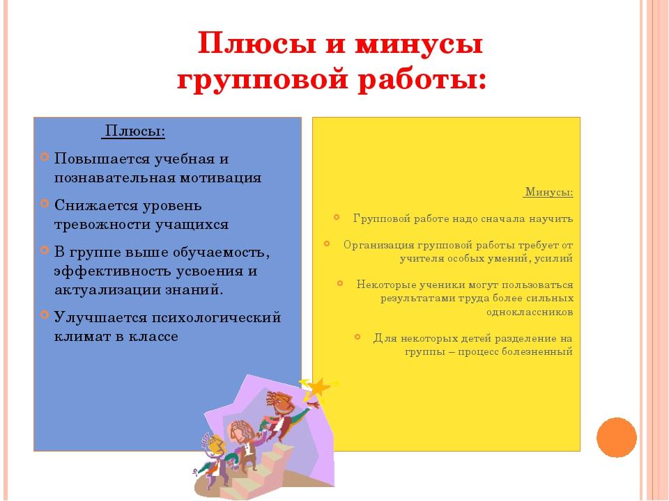 Плюсы и минусы групповой работы: Плюсы: Повышается учебная и познавательная...