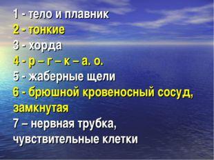 1 - тело и плавник 2 - тонкие 3 - хорда 4 - р – г – к – а. о. 5 - жаберные ще