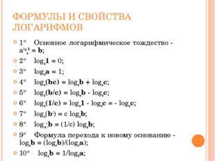 ФОРМУЛЫ И СВОЙСТВА ЛОГАРИФМОВ 1° Основное логарифмическое тождество - alog