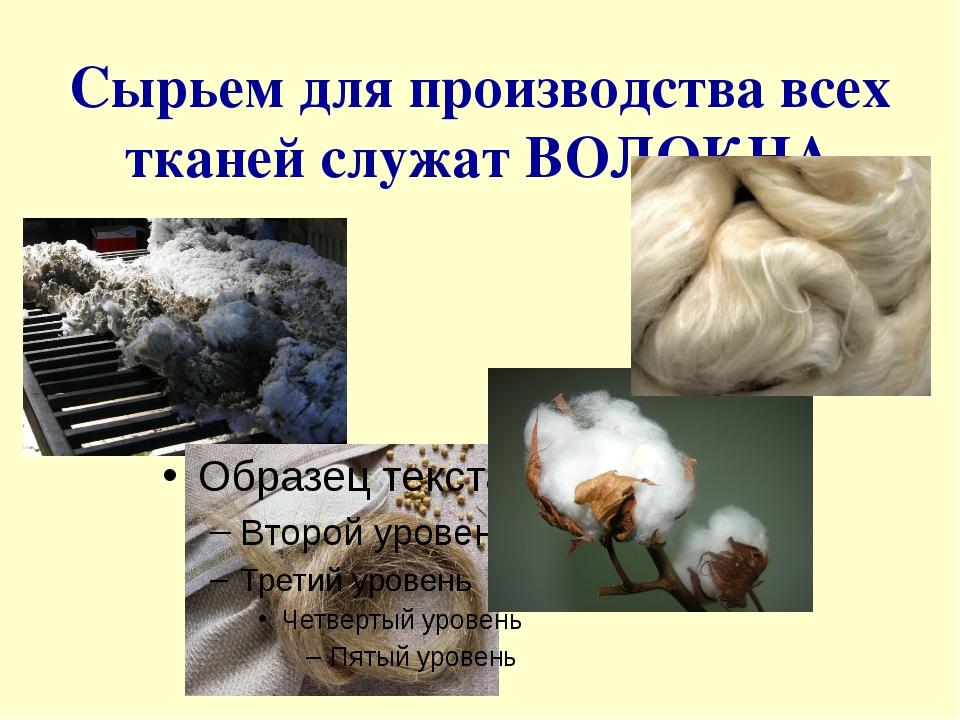 Сырьем для производства всех тканей служат ВОЛОКНА