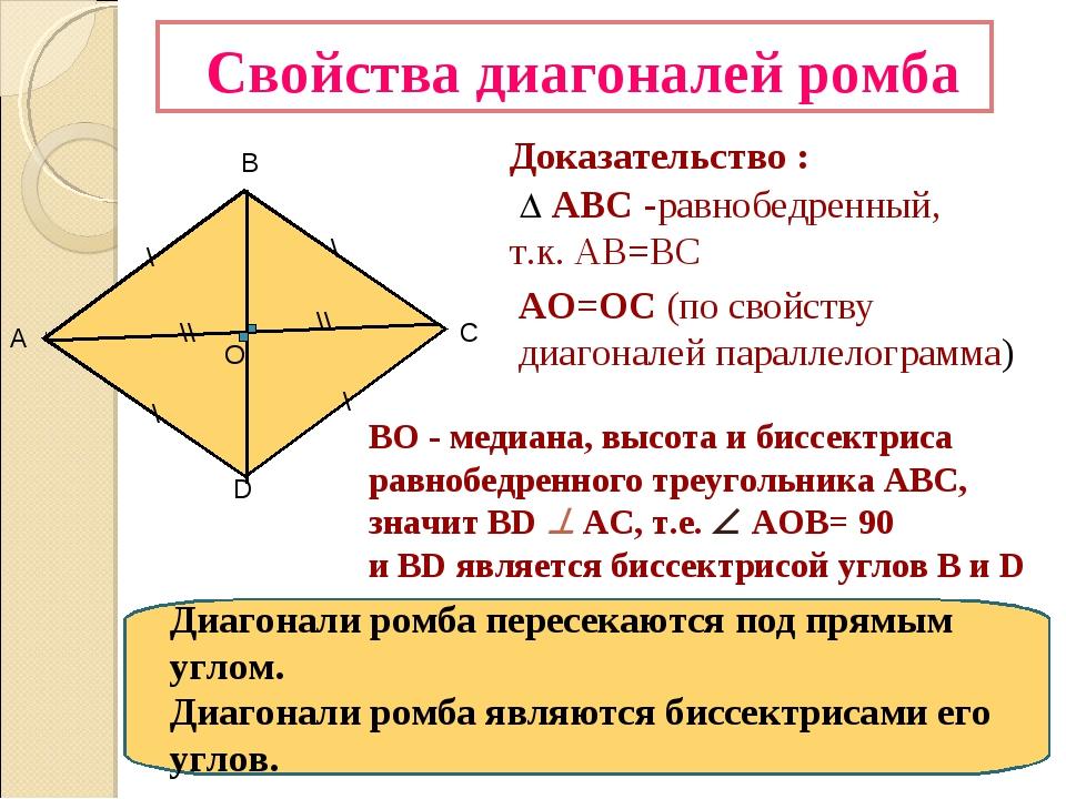 Свойства диагоналей ромба D В А С О \ \ \\ \\ Доказательство :  АВС -равноб...