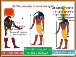 Древние египтяне поклонялись многим богам. Ра – бог солнца Себек– бог воды Т