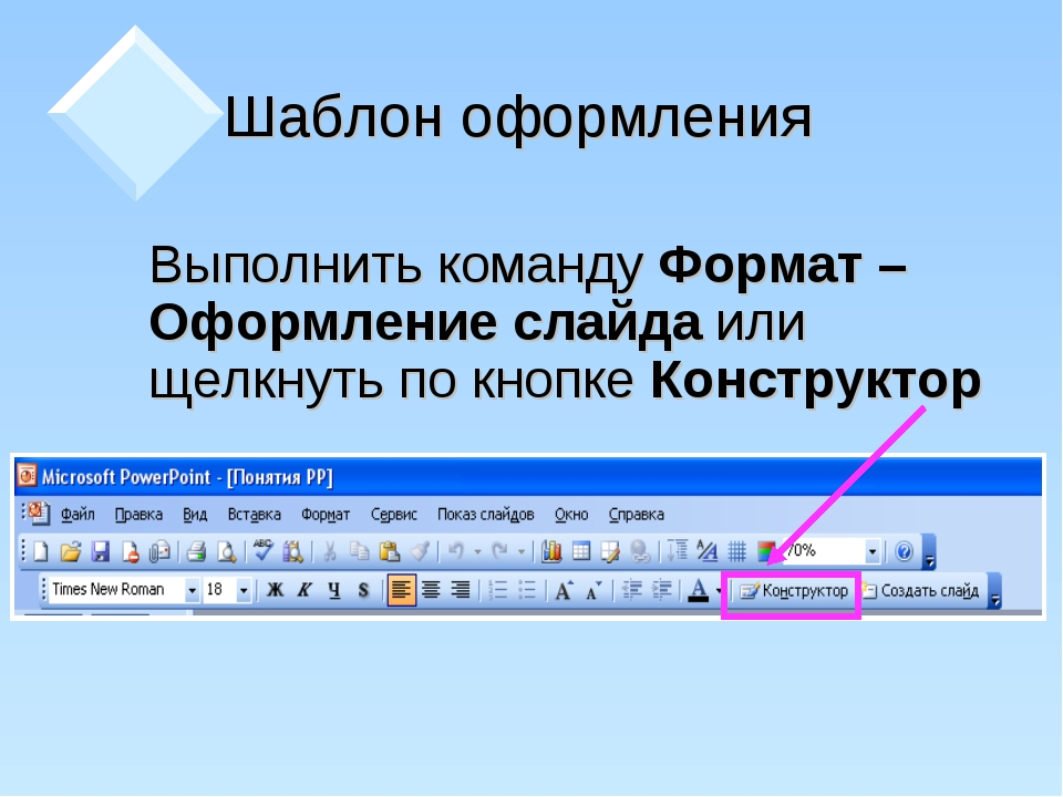 Шаблон оформления Выполнить команду Формат – Оформление слайда или щелкнуть...