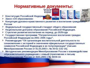 Нормативные документы: Конституция Российской Федерации Закон «Об образовании