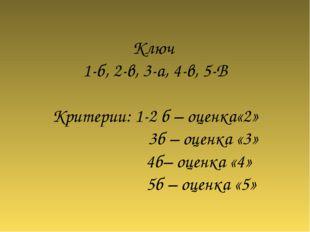 Ключ 1-б, 2-в, 3-а, 4-в, 5-В Критерии: 1-2 б – оценка«2» 3б – оценка «3» 4б–