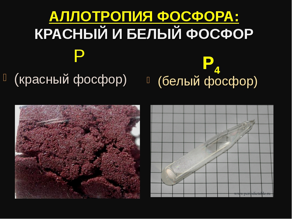АЛЛОТРОПИЯ ФОСФОРА: КРАСНЫЙ И БЕЛЫЙ ФОСФОР Р (красный фосфор) (белый фосфор) Р4