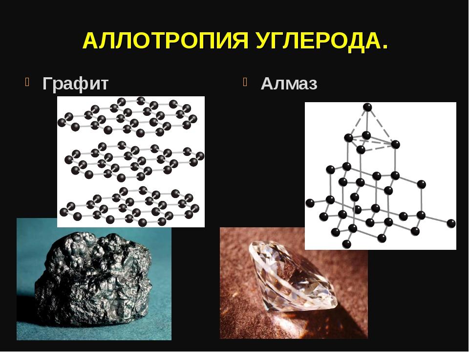 АЛЛОТРОПИЯ УГЛЕРОДА. Графит Алмаз