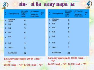 """Бағалау критерийі: 33-38 ұпай – """"5"""" 24-32 ұпай – """"4"""" 17-23 ұпай – """"3"""" Бағалау"""