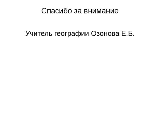 Спасибо за внимание Учитель географии Озонова Е.Б.
