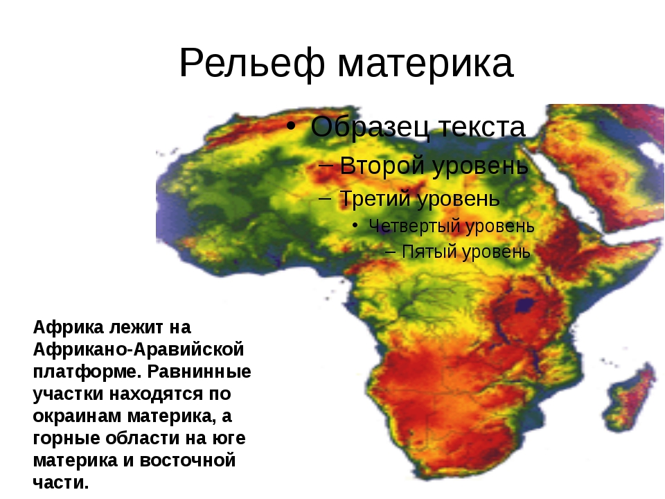 Рельеф материка Африка лежит на Африкано-Аравийской платформе. Равнинные учас...