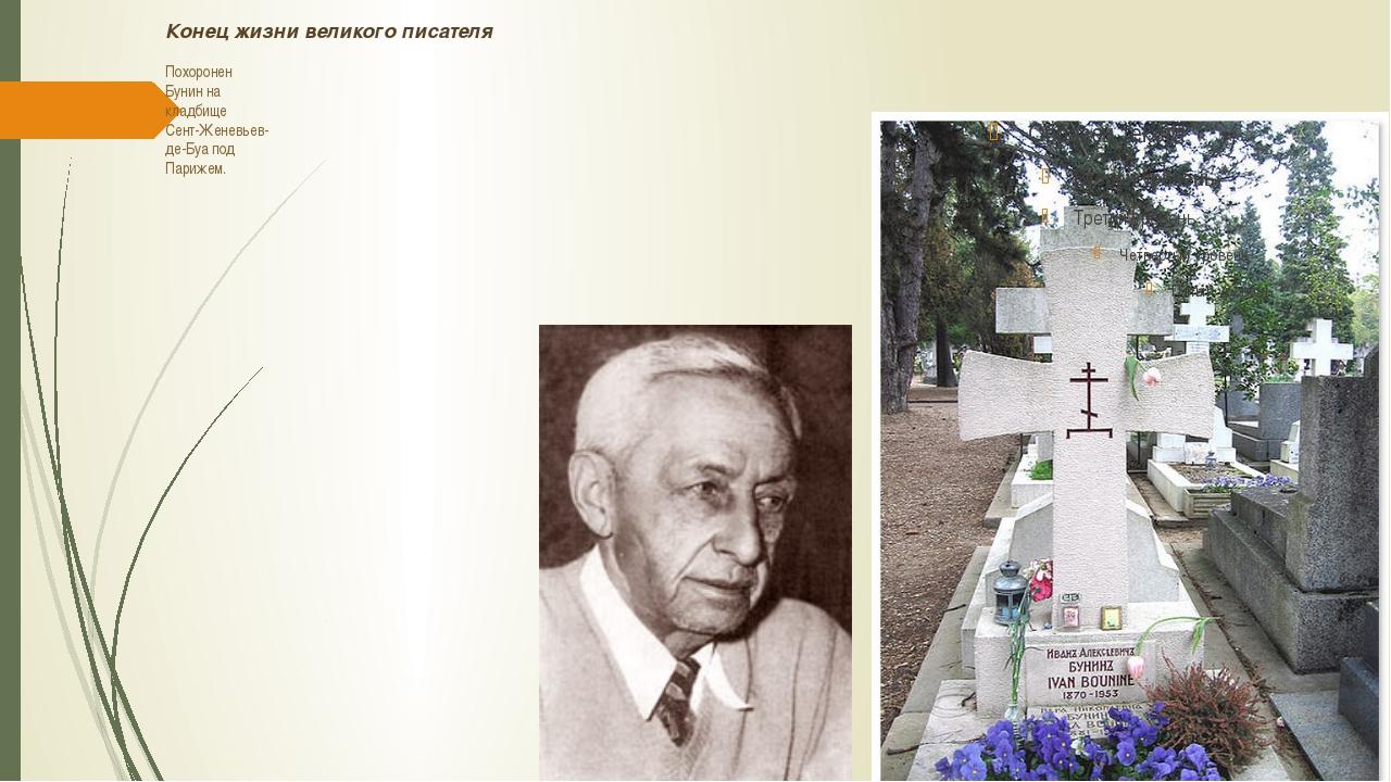 Конец жизни великого писателя Похоpонен Бунин на кладбище Сент-Женевьев- де-Б...