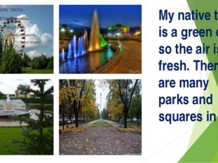My native town is a green one so the air is fresh. There are many parks and s