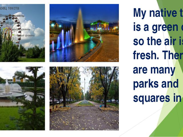 My native town is a green one so the air is fresh. There are many parks and s...