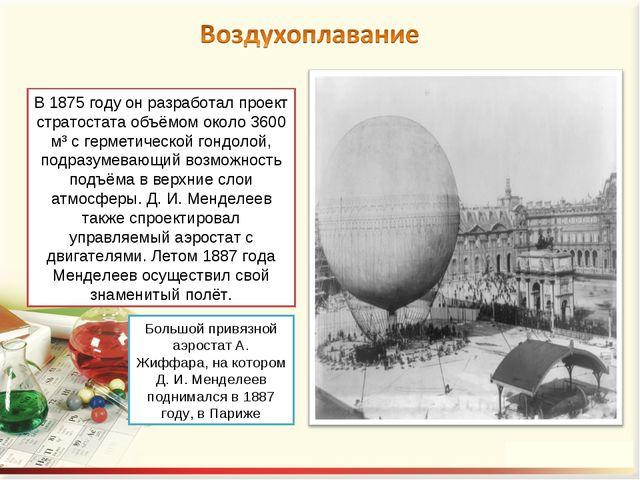 В 1875 году он разработал проект стратостата объёмом около 3600 м³ с герметич...