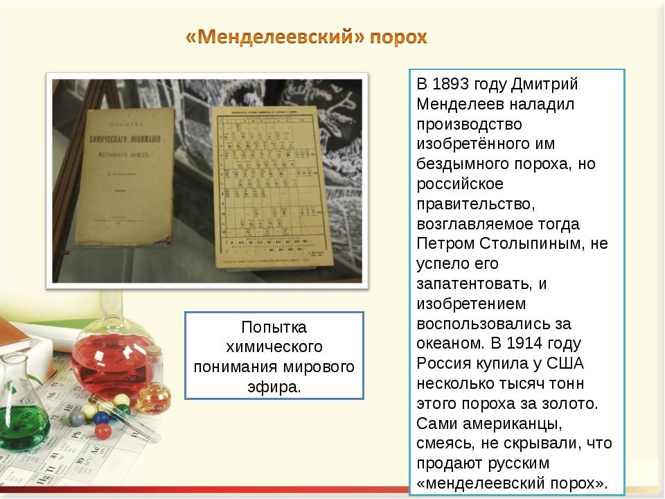В 1893 году Дмитрий Менделеев наладил производство изобретённого им бездымног...