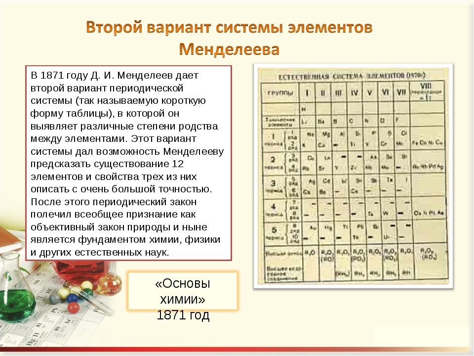 В 1871 году Д. И. Менделеев дает второй вариант периодической системы (так на...