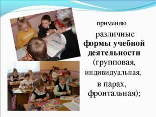 применяю различные формы учебной деятельности (групповая, индивидуальная, в п