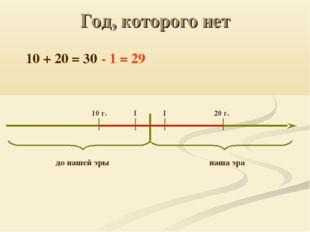 Год, которого нет до нашей эры наша эра I I 10 г. 20 г. 10 + 20 = 30 - 1 = 29