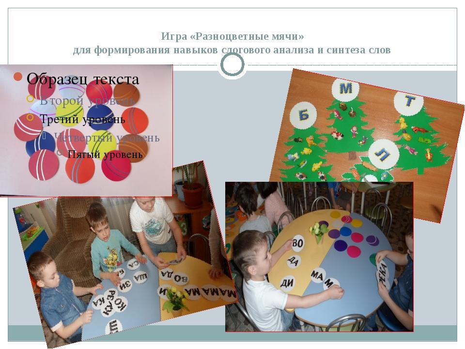 Игра «Разноцветные мячи» для формирования навыков слогового анализа и синтеза...
