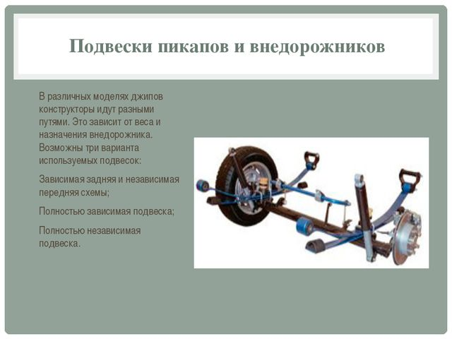 Подвески пикапов и внедорожников В различных моделях джипов конструкторы идут...