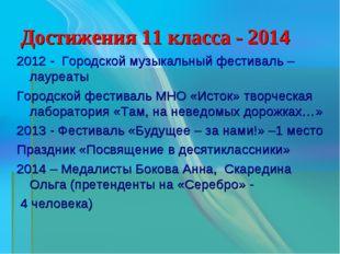 Достижения 11 класса - 2014 2012 - Городской музыкальный фестиваль – лауреаты