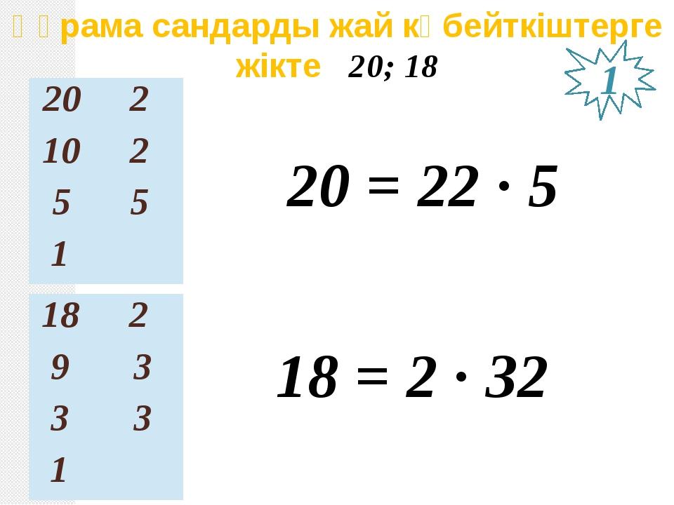 Құрама сандарды жай көбейткіштерге жікте 20; 18 20 = 22 ∙ 5 18 = 2 ∙ З2 1 20...