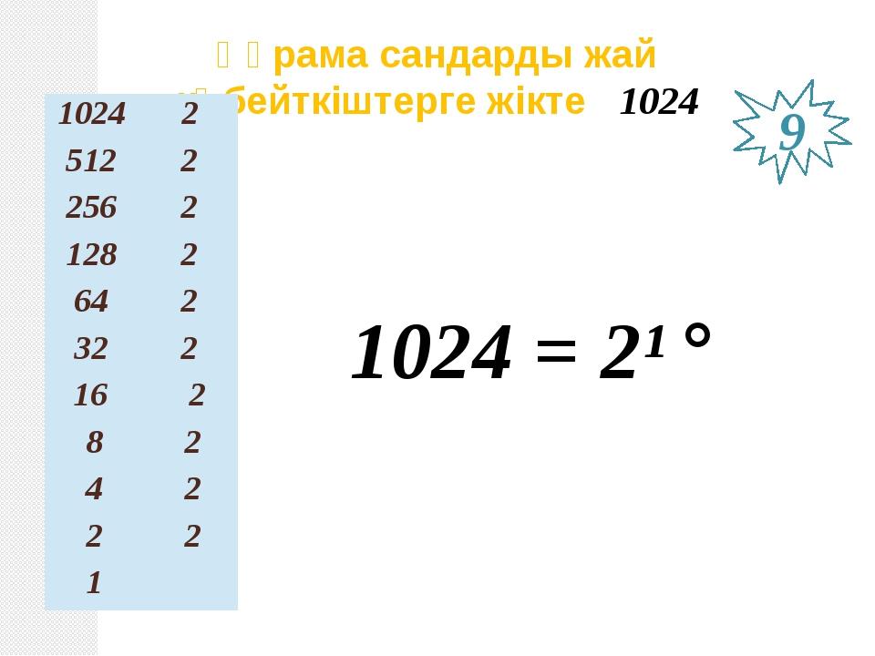 Құрама сандарды жай көбейткіштерге жікте 1024 1024 = 2¹° 9 1024 2 512 2 256 2...