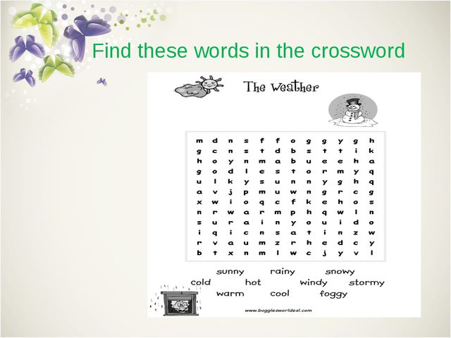 Find these words in the crossword