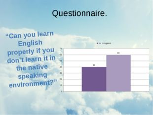 "Questionnaire. ""Can you learn English properly if you don't learn it in the n"