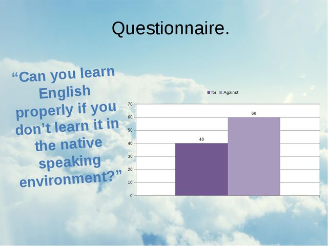 "Questionnaire. ""Can you learn English properly if you don't learn it in the n..."