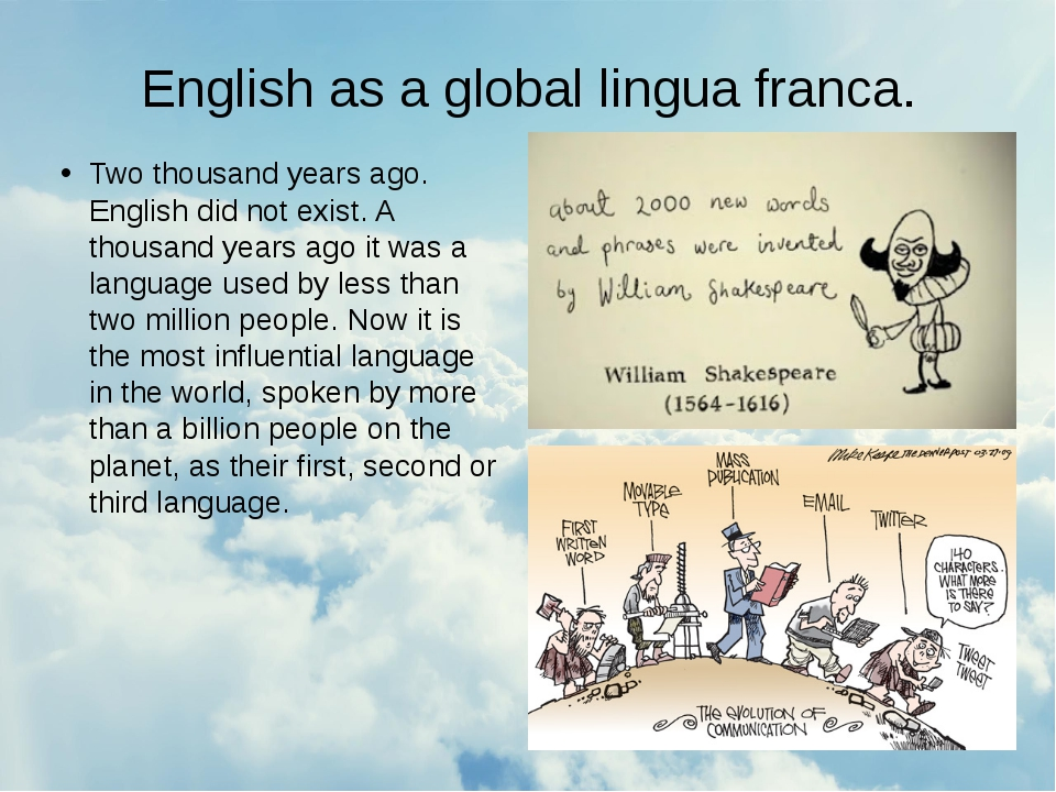 English as a global lingua franca. Two thousand years ago. English did not ex...
