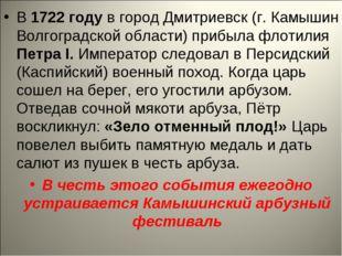 В 1722 году в город Дмитриевск (г. Камышин Волгоградской области) прибыла фло