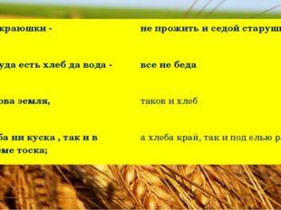 Без краюшки - не прожить и седой старушке Покуда есть хлеб да вода - все не б