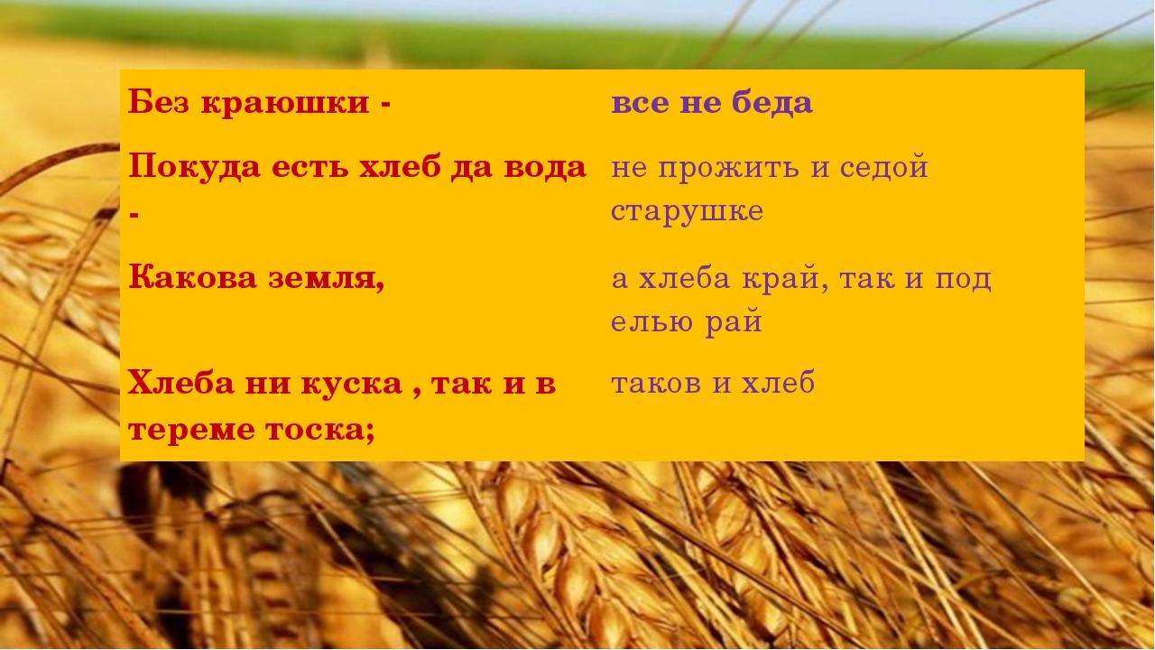 Без краюшки - все не беда Покуда есть хлеб да вода - не прожить и седой стар...