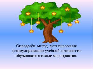 Определён  метод  мотивирования (стимулирования) учебной активности обучающих