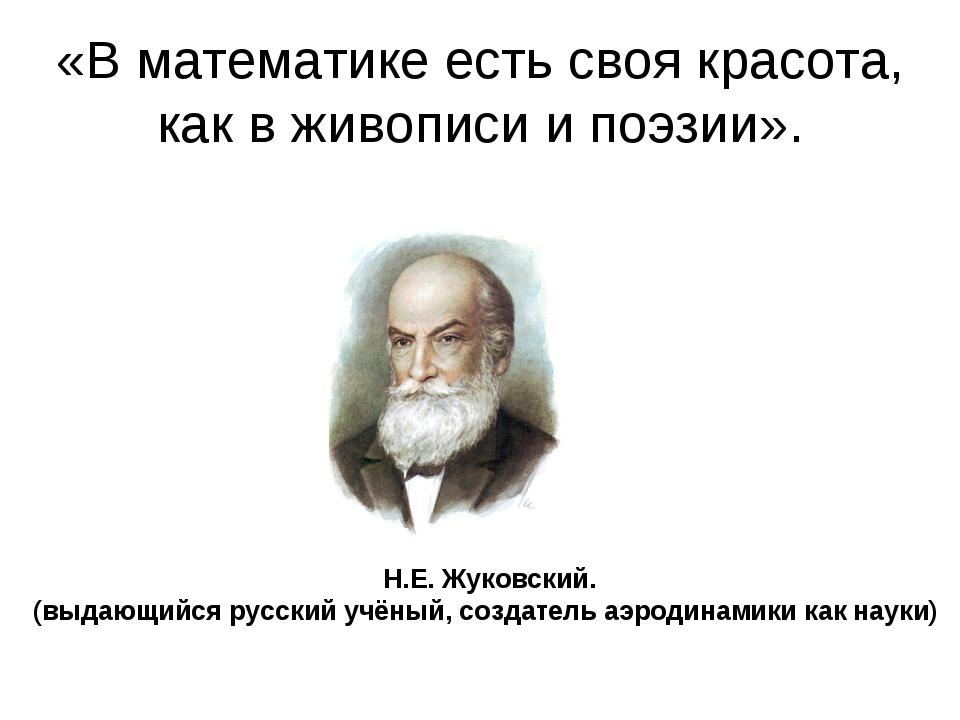 «В математике есть своя красота, как в живописи и поэзии». Н.Е. Жуковский. (в...
