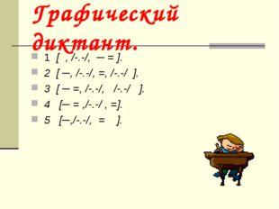 Графический диктант. 1 [ , /-.-/, ─ = ]. 2 [ ─, /-.-/, =, /-.-/ ]. 3 [ ─ =, /