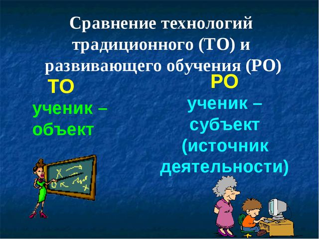 ТО РО ученик – объект ученик – субъект (источник деятельности) Сравнение техн...