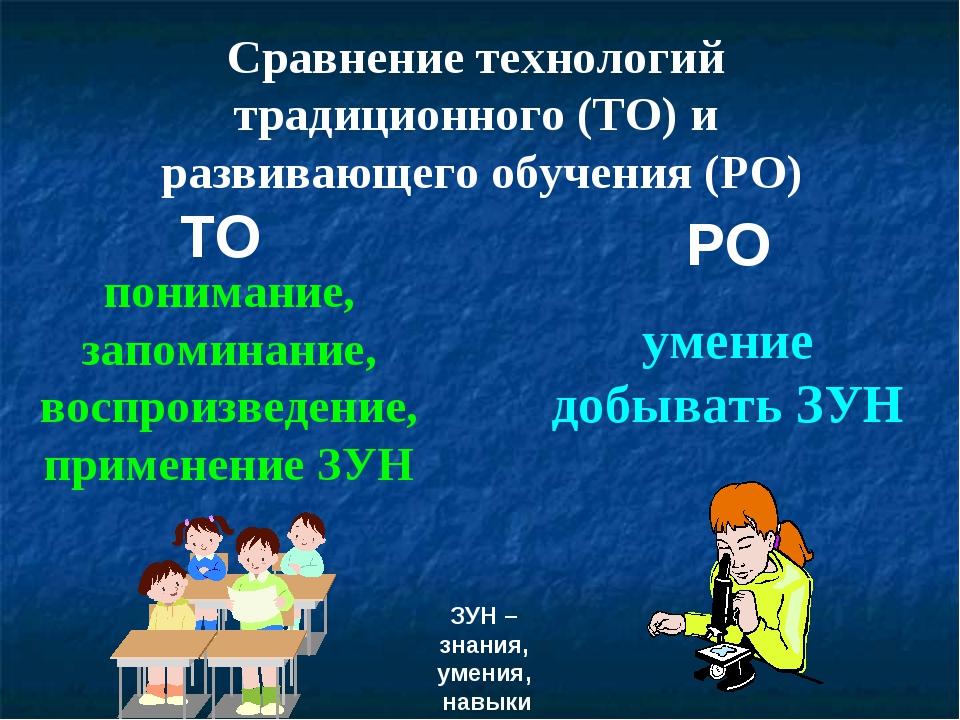 Сравнение технологий традиционного (ТО) и развивающего обучения (РО) ТО РО по...