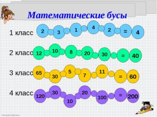 Математические бусы  1 класс  2 класс 3 класс  4 класс
