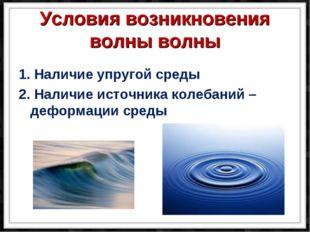 Условия возникновения волны волны 1. Наличие упругой среды 2. Наличие источн