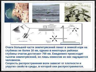 Очаги большей части землетрясений лежат в земной коре на глубинах не более 16